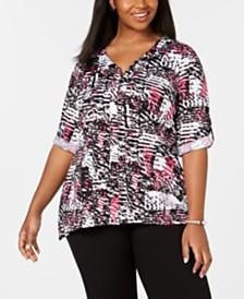 NY Collection Plus Size Printed Zip-Front Top