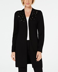 JM Collection Grommet Appliqué Open Cardigan, Created for Macy's