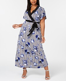 NY Collection Plus & Petite Plus Size Surplice Printed Maxi Dress