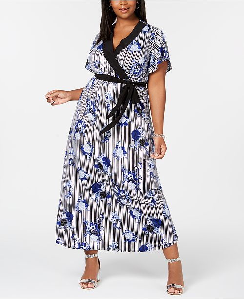 Plus & Petite Plus Size Surplice Printed Maxi Dress