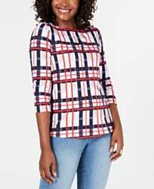 Charter Club Cotton Plaid Boat-Neck Top, Created for Macy's