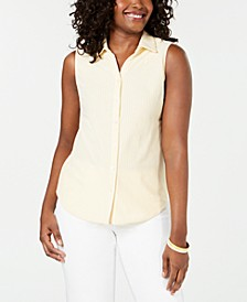 Petite Cotton Striped Pique Shirt, Created for Macy's