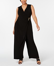 Calvin Klein Plus Size Ruched Overlay Jumpsuit