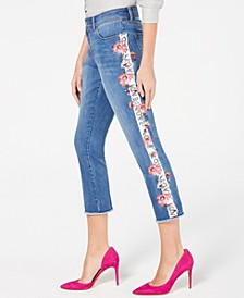 INC Embroidered Side-Seam Skinny Cropped Jeans, Created for Macy's