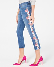 I.N.C. Embroidered Side-Seam Skinny Cropped Jeans, Created for Macy's