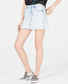 Dollhouse Juniors' Side-Snap Denim Mini Skirt