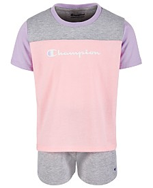 Champion Little Girls 2-Pc. Colorblocked T-Shirt & Shorts Set