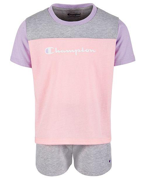 Champion Little Girls 2-Pc. Colorblocked T-Shirt & Shorts Set