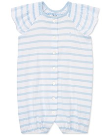 Polo Ralph Lauren Baby Girls Striped Smocked Cotton Shortall