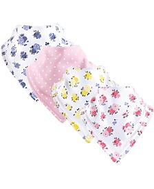 Luvable Friends Unisex Baby Bandana Bibs, Floral Pink 4-Pack, One Size