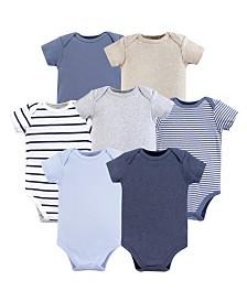 Hudson Baby Unisex Baby Cotton Bodysuits, Boy Basics 7-Pack, 0-24 Months
