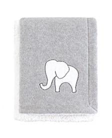 Hudson Baby Fleece Blanket with Sherpa Back, Gray Elephant, One Size