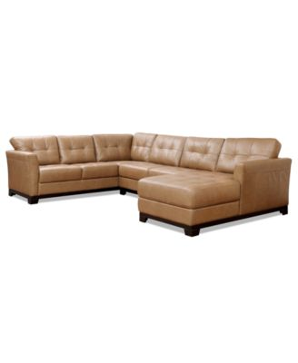 Martino Leather 3-Piece Chaise Sectional Sofa  sc 1 st  Macyu0027s : 3 piece leather sectional - Sectionals, Sofas & Couches