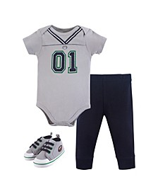 Baby Vision 0-18 Months Unisex Baby Bodysuit, Pant and Shoes, 3-Piece Set