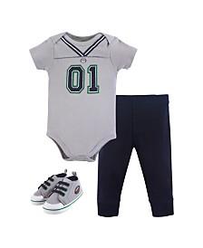 Little Treasure Unisex Baby Bodysuit, Pant and Shoes, 3-Piece Set, 0-18 Months