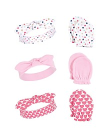 Little Treasure Baby Girl Headband and Scratch Mittens, 6-Piece Set, One Size