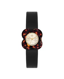 Orla Kiely Watch, Black Leather Strap With Buckle Closure
