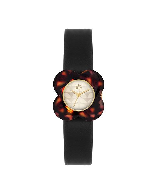 Lola Rose Orla Kiely Watch, Black Leather Strap With Buckle Closure