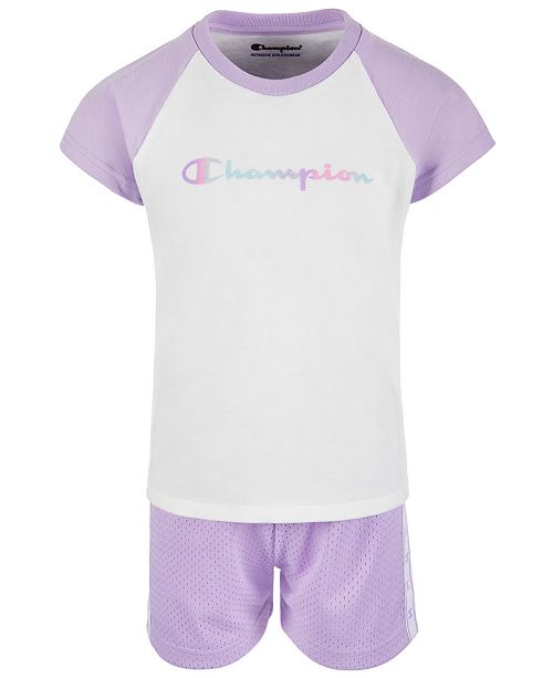 c6d057b52d4f Champion Toddler Girls 2-Pc. Colorblocked T-Shirt & Mesh Shorts Set ...