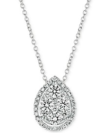 "Vanilla Diamond Teardrop 18"" Pendant Necklace (3/8 ct. t.w.) in 14k White Gold"