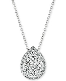 "Le Vian® Vanilla Diamond Teardrop 18"" Pendant Necklace (3/8 ct. t.w.) in 14k White Gold"