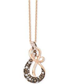"Le Vian Chocolatier® Diamond Clef 18"" Pendant Necklace (1/2 ct. t.w.) in 14k Rose Gold"