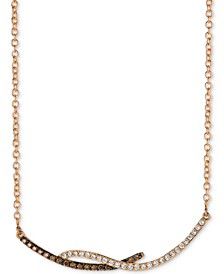 "Chocolatier® Diamond Swirl Bar 18"" Pendant Necklace (1/3 ct. t.w.) in 14k Rose Gold"