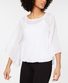 Alfani Petite Chevron Bubble-Hem Top, Created for Macy's