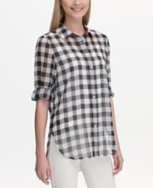 Calvin Klein Gingham-Print Utility Shirt