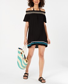 Miken Juniors' Embroidered Off-The-Shoulder Cover-Up, Created for Macy's