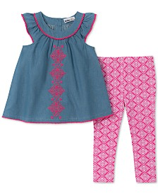 Kids Headquarters Baby Girls 2-Pc. Embroidered Tunic & Printed Leggings Set