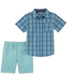 Kids Headquarters Baby Boys 2-Pc. Plaid Shirt & Shorts Set