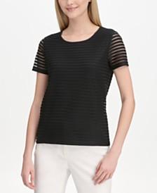 Calvin Klein Sheer-Striped Top