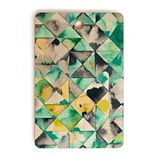 Moody Geometry Green Rectangle Cutting Board