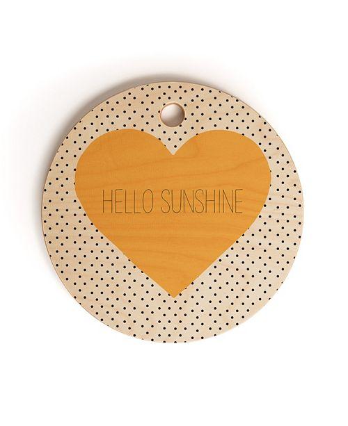 Deny Designs Hello Sunshine Heart Round Cutting Board