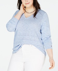 Tommy Hilfiger Plus Size Ivy Cotton Pointelle Sweater, Created for Macy's