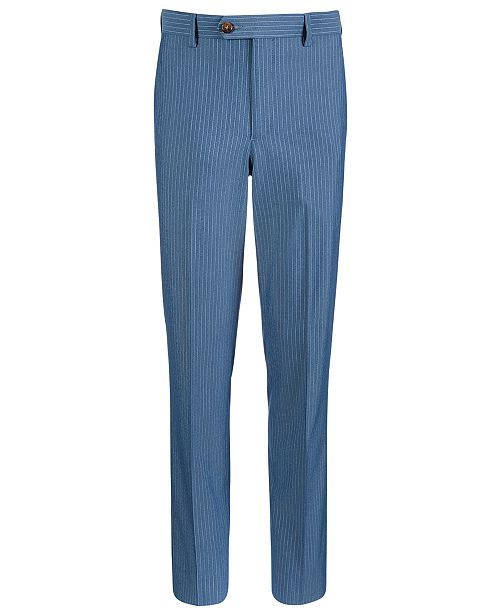 Lauren Ralph Lauren Big Boys Stretch Light Blue Stripe Suit Pants