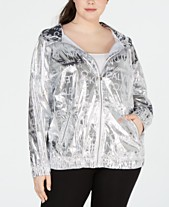 6c57290a06064 Calvin Klein Performance Plus Size Logo-Print Water-Repellent Hooded Jacket