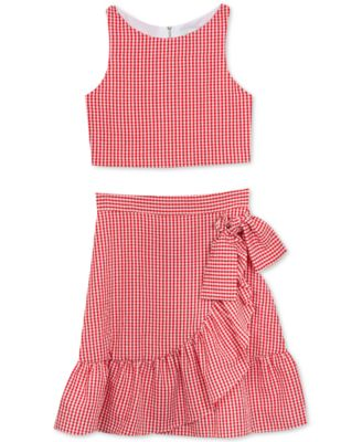 Big Girls 2-Pc. Gingham Seersucker Top & Ruffle Skirt
