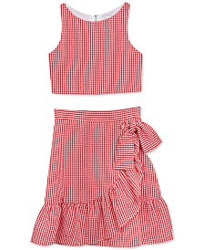 Rare Editions Big Girls 2-Pc. Gingham Seersucker Top & Ruffle Skirt