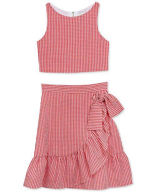 Rare Editions Big Girls 2-Pc. Gingham Seersucker Top & Ruffle Skirt