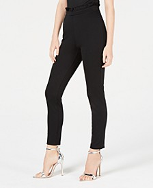 Juniors' Ruffle-Trimmed Ponte-Knit Skinny Pants, Created for Macy's