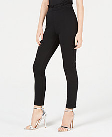Material Girl Juniors' Ruffle-Trimmed Ponte-Knit Skinny Pants, Created for Macy's