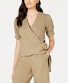 J.O.A. Ring-Buckle Wrap Top