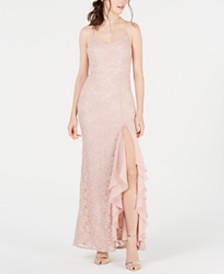 City Studios Juniors' Ruffled Glitter-Lace Gown