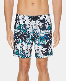 "Perry Ellis Men's Paint Splatter 7"" Swim Trunks"
