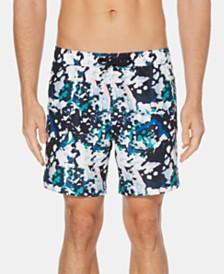 """Perry Ellis Men's Paint Splatter 7"""" Swim Trunks"""