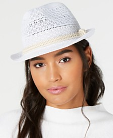 I.N.C. Packable Crochet Fedora, Created for Macy's