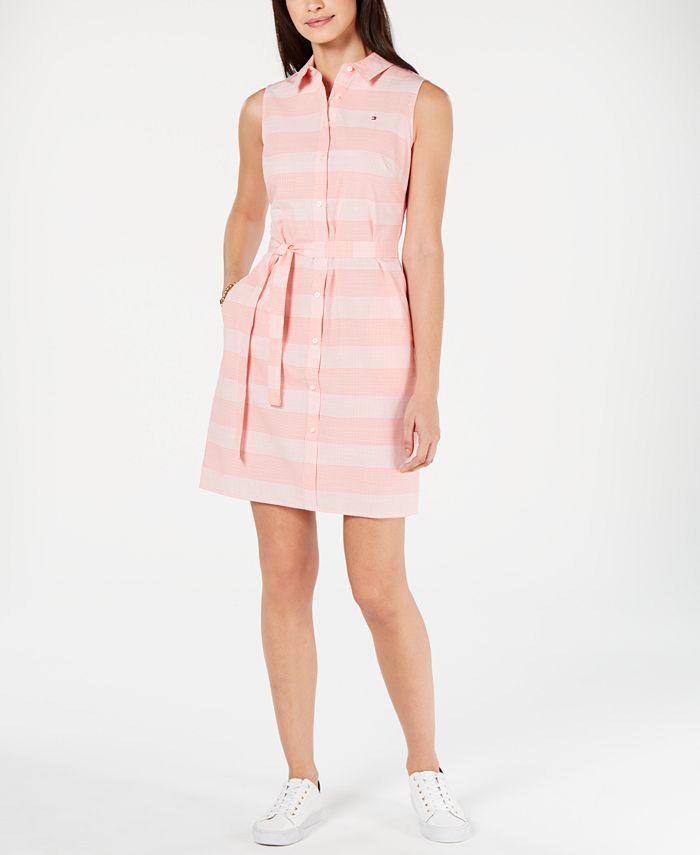 Tommy Hilfiger - Cotton Striped Belted Shirtdress