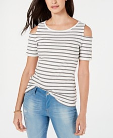 Tommy Hilfiger Cotton Striped Cold-Shoulder Top